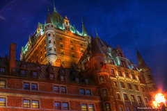 Le Chteau Frontenac , Quebec, Canada - HDR (kirk lau) Tags: trip travel family light vacation sky holiday canada architecture night canon dark long exposure quebec flare chateau nite hdr kirk lau frontenac x3 kkl 0sec hpexif keepexploring kirk1978atgmaildotcom kirklau kirk1978