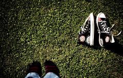 Converse (crspych) Tags: white black colour green grass socks purple stripes stripe jeans converse denim tribute vignette explored