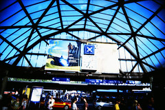 Meeting point (Markus Moning) Tags: camera blue roof sky film station saint st analog train point toy schweiz switzerland gallo xpro slim cross main wide himmel ct meeting railway bahnhof sbb x plastic hauptbahnhof pro 100 blau agfa dach gallen viv vivitar processed ultra gall moning camery unterfhrung precisa treffpunkt markusmoning