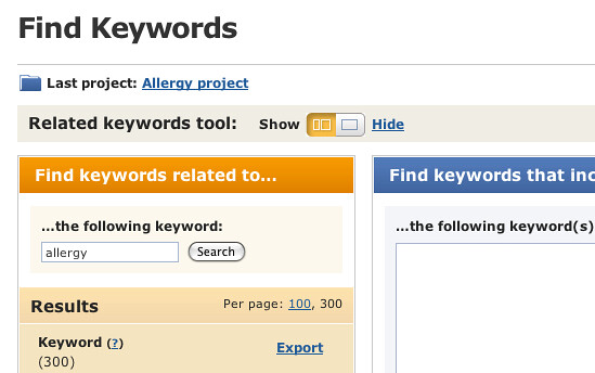 allergy related keywords