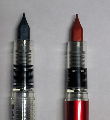 Platinum Plaisir and Preppy Sections and Nibs Side-by-Side