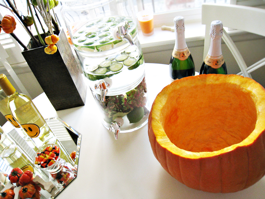 pumpkin for champagne bucket+halloween decorating+holiday decor