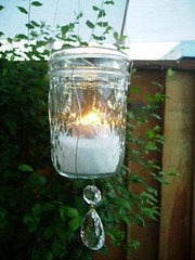 hanging candle holder with crystals