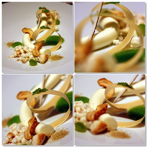 Macros of the Coconut mousse, cashew, cucumber, coriander