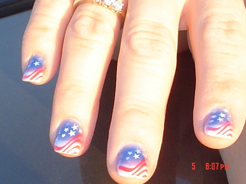 Nail art gallery june 2009 4th of july nail design usa flag style prinsesfo Image collections
