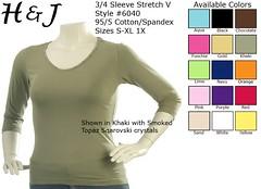 6040 - 3/4 Sleeve Stretch V