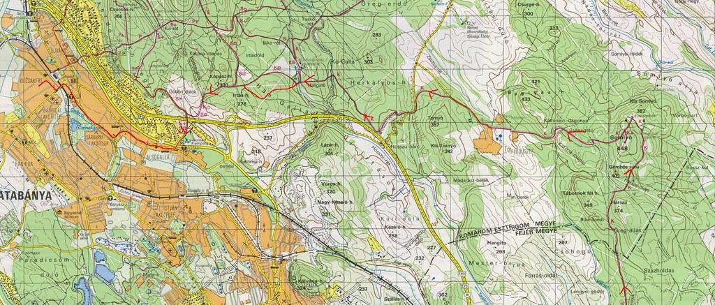 Nagyegyháza - Somlyóvár - Tornyópuszta - Koldusszállás - Tatabánya : Térkép