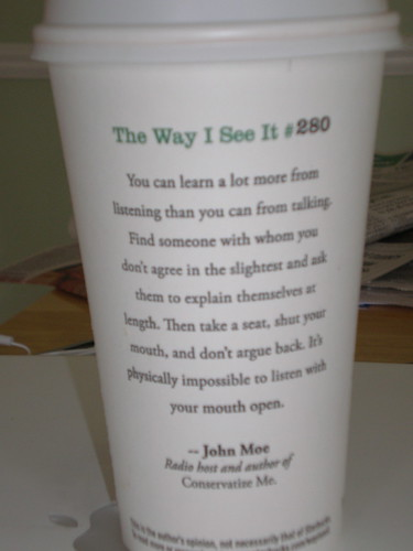 Important quote on Starbucks cup