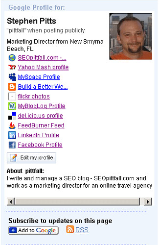 Google Shared Stuff profile
