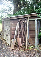 Shed with spades