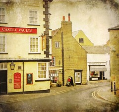 quiet overcast afternoon in my favourite town.... (vesna1962) Tags: street houses england texture restaurant town italian pub scenery yorkshire north winding knaresborough butchers memoriesbook artistictreasurechest skeletalmess magicunicornverybest magicunicornmasterpiece