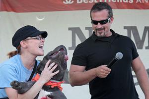 Harrison Forbes, Nashville-based Pet Talk Radio host, dog trainer works the stage