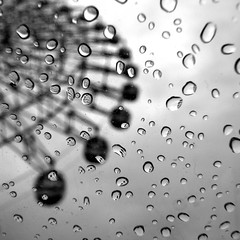 The Rainy Day Amusement Park (yoshiko314) Tags: blackandwhite bw reflection wheel umbrella rainyday 100v10f drop kobe rainy squareformat ferriswheel raindrop   harborland