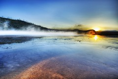 The Geothermal Prism (Stuck in Customs) Tags: pictures sunset panorama nature water lines composition work reflections landscape photography intense nikon bravo montana shoot photographer shot angle photos unique background details perspective grand images best edge catching processing attractive pro yellowstone wyoming framing charming capture hdr steamy treatment prismatic mostviewed grandprismatic highquality overwhelming bewitching stuckincustoms treyratcliff