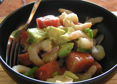 Shrimp, Watermelon and Avocado Salad