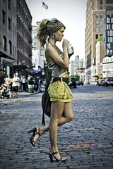 Waiting for a cab (Rekanyari) Tags: street summer musician woman sun newyork fashion magazine movement drink sweet pavement story artists singer editorial breeze narrative classy supershot abigfave cuteclothes 5d365 caughtbysupriseeditorialfashionlaehpapierdollmusic