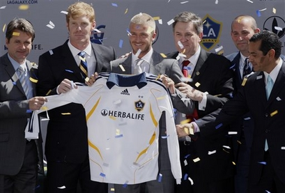 MLS Galaxy Beckham Arrives Soccer