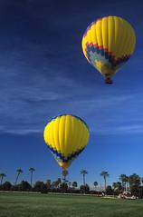 Twin Liftoff (Liska Rial Eman) Tags: panorama palmsprings flight twin hotairballoons supershot ms4jah