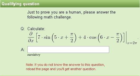 Captcha matemático: Cálculo del valor de la derivada parcial de una función en un punto
