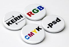 Graphic Designer's Button 4-pack (jnhkrawczyk) Tags: school white color college photoshop typography graphicdesign pin technology geek kern adobe badge button rgb pinback barrelofmonkeys esty cmyk sillymonkey jillnhamiltonkrawczyk