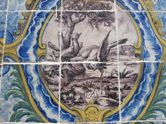 detail of the wall of tile of an old fountain - by MagdaMontemor