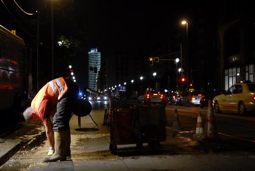 Nachtschicht auf der Baustelle