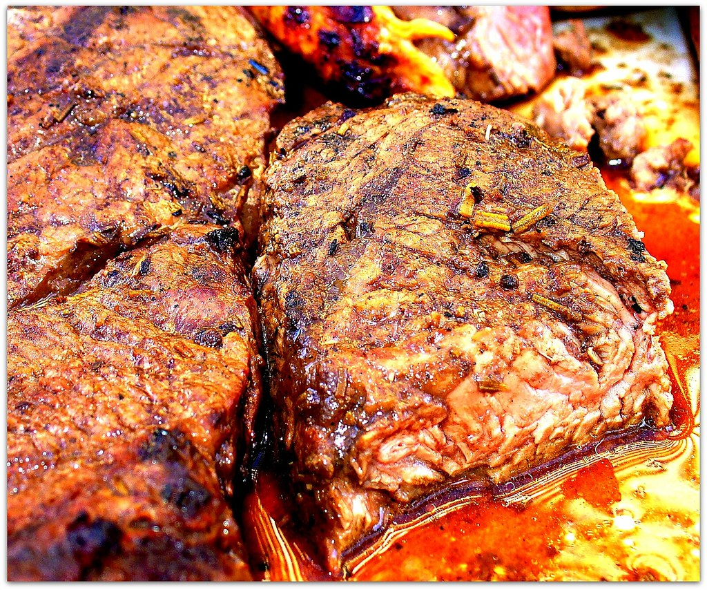 Nicely BBQ Grilled Beef Steak Ready to Eat
