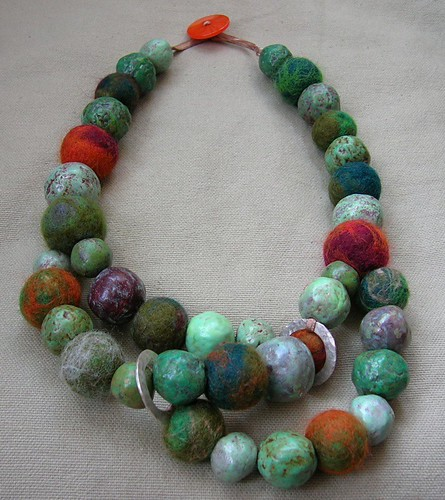 felt beads - and paper bead necklace