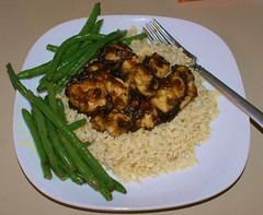 cheater's General Tso Chicken with green beans