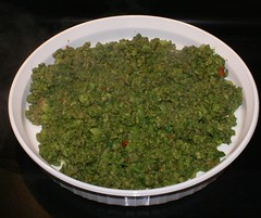 transfer spinach / meat mixture to shallow dish to cool