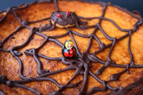 immagine Decorazione torte per halloween ragno e ragnatela di cioccolato