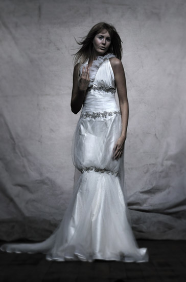 Bridal Fashion,  White Bridal Dress 1v2. Photographed by Kent Johnson.