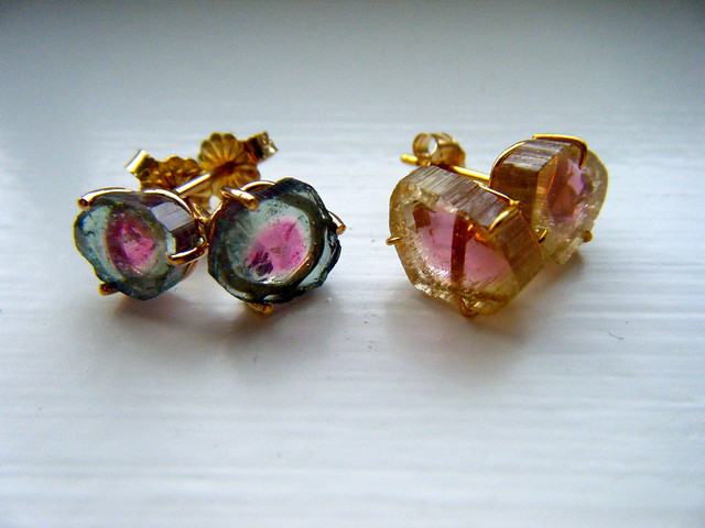 tourmaline stud pink earrings