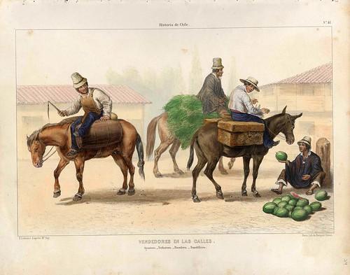 034-Vendedores callejeros 2-Atlas de la historia física y política de Chile-1854-Claudio Gay