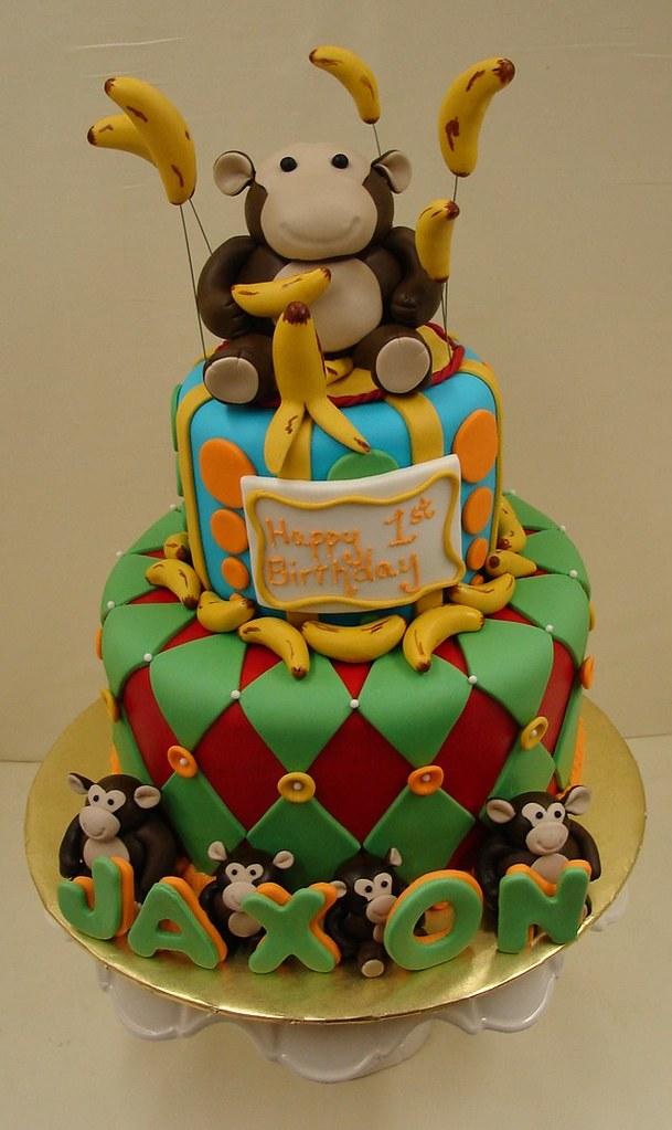... birthday cake monkey smash stripes bananas dots themed fondant
