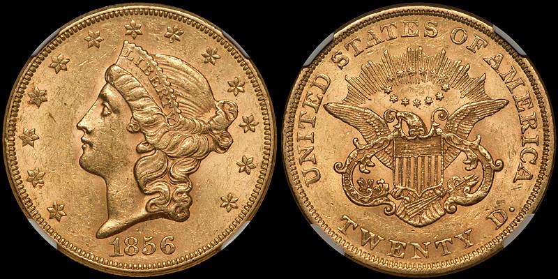 1856 $20.00 NGC AU58 CAC