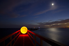 Welcome Home (TTYL8R) Tags: sunset moon lightpainting night stars pier bright orb leds lightart lapp matagordabay lightartperformancephotography