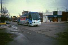Harlem globetrotter's  bus (William Wilson loves Belinda) Tags: ny olean buses bus baskbell harlem globetrotters motorcoach mci j4500 building white tan snow wny westernnewyork funny niagara male female green brown water journey love interstate travel travels travelingtolls truck trucks history nature fall winter season bridge towers tower architecture driving portraits action night macro landscapes buffalo niagarafalls food