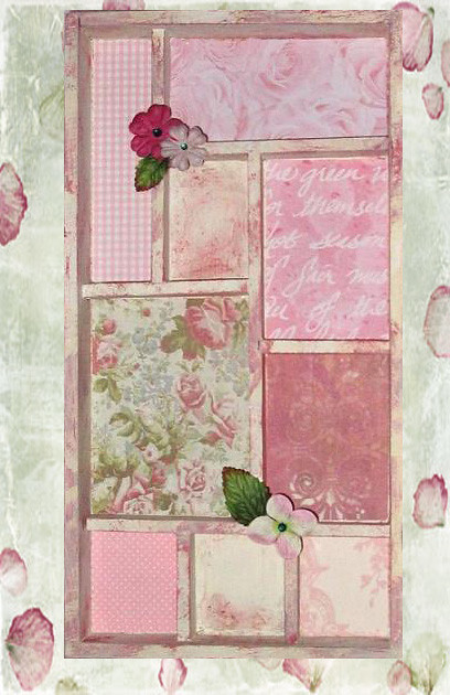 wood pink art altered wallart shadowbox shabbychic