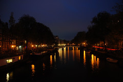 Singel canal (Handles) Tags: trees amsterdam canal nightlights bikes bicycles prostitutes redlightdistrict