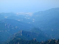 Vallée et embouchure du Liamone depuis le sommet du Cervellu