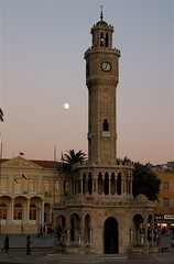 Clock Tower (Benrose) Tags: sunset moon turkey turkiye izmir ege eagen fotoguia