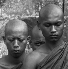 Monks at Borobudur, near Jogjakarta