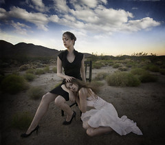 Duality (Leah Johnston) Tags: california portrait sky selfportrait self sand desert leah fineart cloning multiplicity mojave duality portfolio moutains johnston bipolar leahjohnson leahjohnston