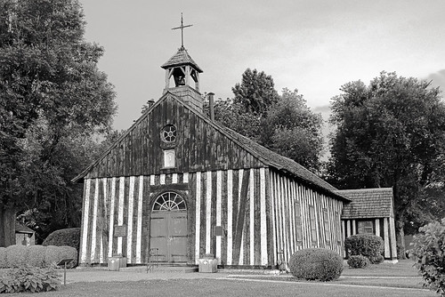 Holy Family Log Church, in Cahokia, Illinois, USA - exterior at dusk 9 (black and white)