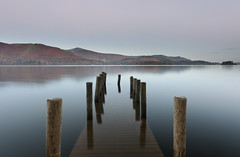 Submerged (Reed Ingram Weir) Tags: autumn sunrise jetty fineart lakes cumbria derwentwater submerged thelakedistrict reedingramweir riwp
