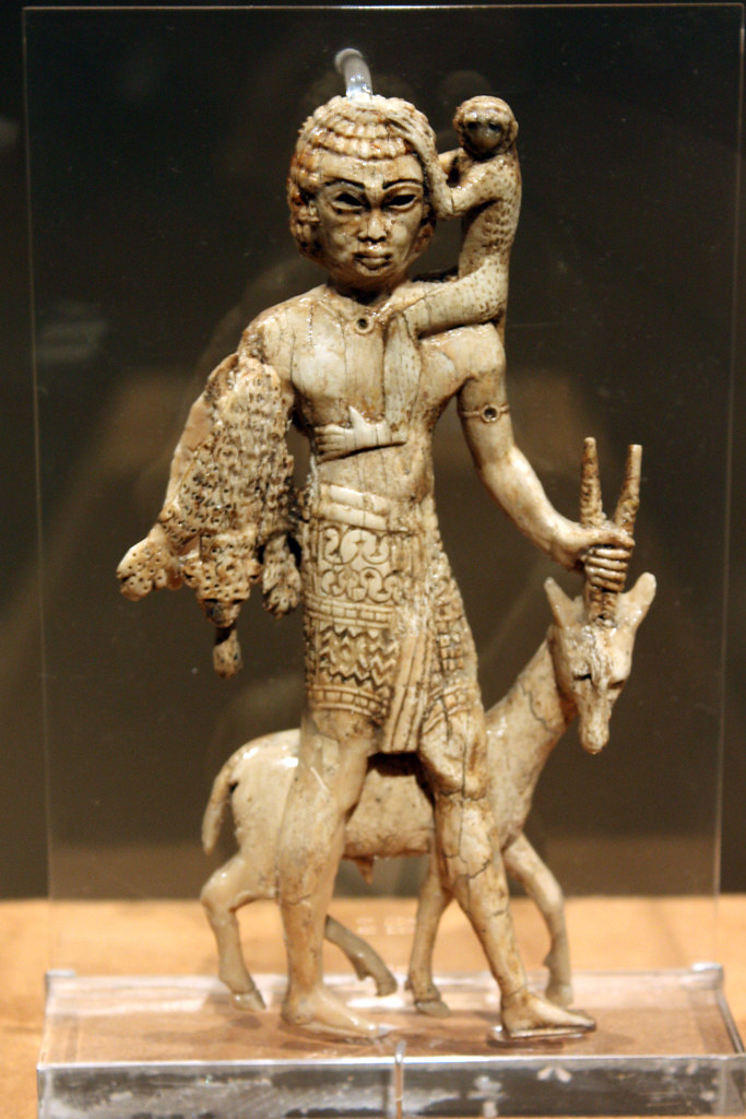 Nubian tribute bearer with an oryx, a monkey, and a leopard skin