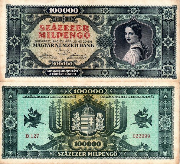 100 000 MilPengő Maďarsko 1946