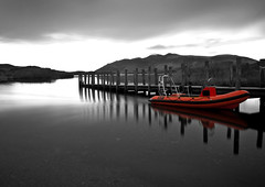 derwentwater rib (sherlylock) Tags: bw orange white lake black colour high nikon long exposure district jetty pop filter inflatable derwentwater rib hull density lodore neutral nd400 rigid d5000