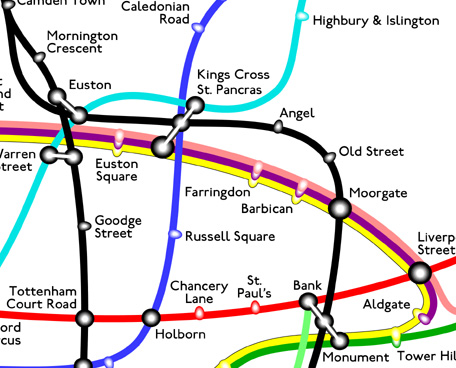 Curvy Tube Map zoom